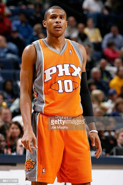 Leandro Barbosa of the Phoenix Suns looks across the court during the game against the Memphis Grizzlies on April 10 2009 at FedExForum in Memphis...