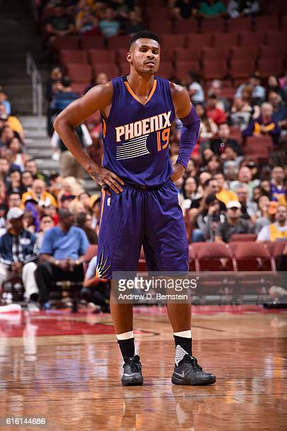 Leandro Barbosa of the Phoenix Suns looks on against the Los Angeles Lakers during a preseason game on October 21 2016 at Honda Center in Anaheim...