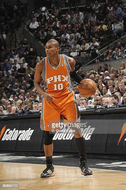 Leandro Barbosa of the Phoenix Suns moves the ball against the San Antonio Spurs in Game Two of the Western Conference Quarterfinals during the 2008...