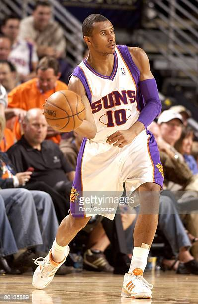 Leandro Barbosa of the Phoenix Suns passes the ball during the game against the Washington Wizards on February 10 2008 at US Airways Center in...