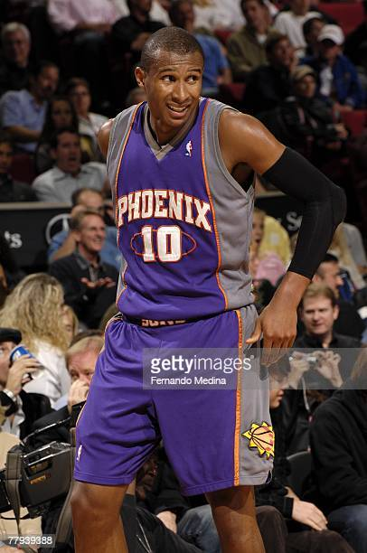 Leandro Barbosa of the Phoenix Suns reacts during the game against the Orlando Magic at Amway Arena on November 10 2007 in Orlando Florida NOTE TO...