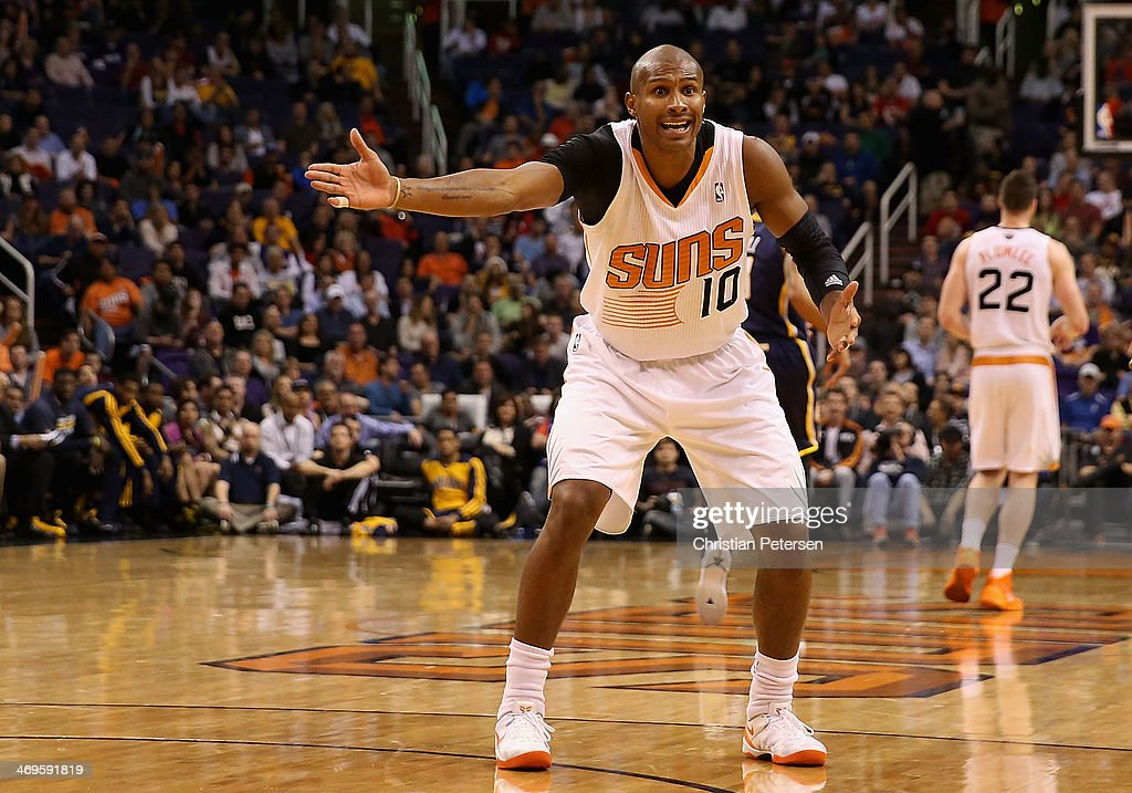 <a gi-track='captionPersonalityLinkClicked' href=/galleries/search?phrase=Leandro+Barbosa&family=editorial&specificpeople=201506 ng-click='$event.stopPropagation()'>Leandro Barbosa</a> #10 of the Phoenix Suns reacts during the NBA game against the Indiana Pacers at US Airways Center on January 22, 2014 in Phoenix, Arizona. The Suns defeated the Pacers 124-100.