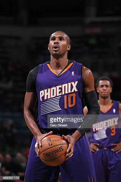 Leandro Barbosa of the Phoenix Suns shoots a free throw against the Milwaukee Bucks on January 29 2014 at the BMO Harris Bradley Center in Milwaukee...