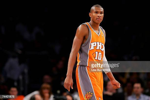 Leandro Barbosa of the Phoenix Suns walks across the court in Game Four of the Western Conference Quarterfinals against the Los Angeles Lakers during...