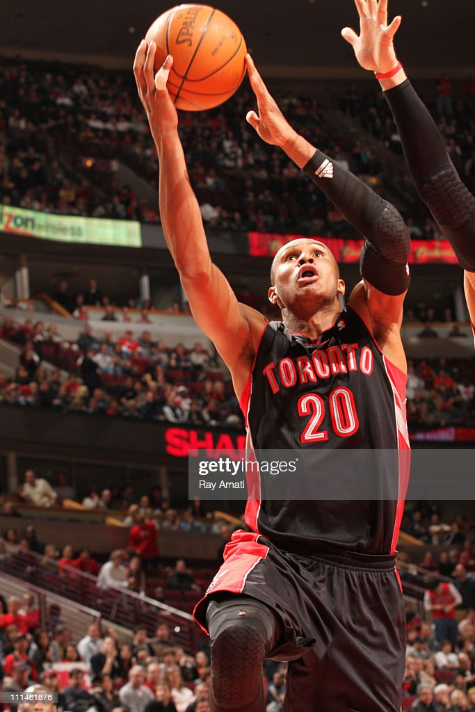 <a gi-track='captionPersonalityLinkClicked' href=/galleries/search?phrase=Leandro+Barbosa&family=editorial&specificpeople=201506 ng-click='$event.stopPropagation()'>Leandro Barbosa</a> #20 of the Toronto Raptors shoots against the Chicago Bulls on April 2, 2011 at the United Center in Chicago, Illinois.