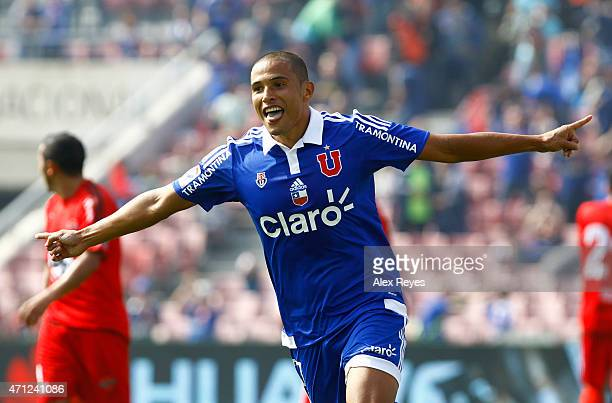 Leandro Benegas of U de Chile celebrates after scoring the second goal of his team against Ñublense during a match between U de Chile and Nublense as...