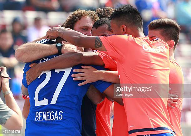 Leandro Benegas of U de Chile celebrates with his teammates after scoring the second goal of his team against Ñublense during a match between U de...