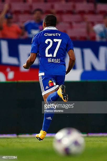 Leandro Benegas of Universidad de Chile celebrates the second goal against Deportes Iquique during a match between Universidad de Chile and Deportes...