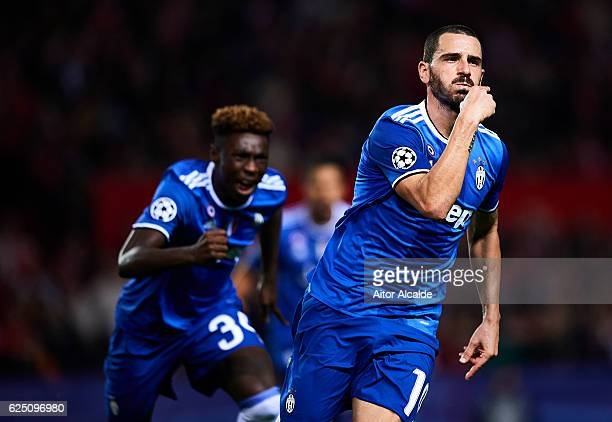 Leandro Bonucci of Juventus celebrates after scoring during the UEFA Champions League match between Sevilla FC and Juventus at Estadio Ramon Sanchez...