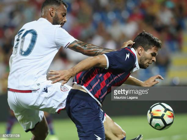 Leandro Cabrera of Crotone competes for the ball with Joao Pedro of Cagliari during the PreSeason Friendly match between FC Crotone and Cagliari...