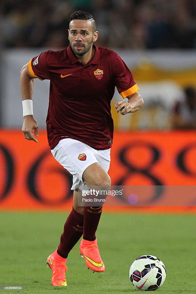 <a gi-track='captionPersonalityLinkClicked' href=/galleries/search?phrase=Leandro+Castan&family=editorial&specificpeople=5891971 ng-click='$event.stopPropagation()'>Leandro Castan</a> of AS Roma in action during the pre-season friendly match between AS Roma and Fenerbache SK at Stadio Olimpico on August 19, 2014 in Rome, Italy.
