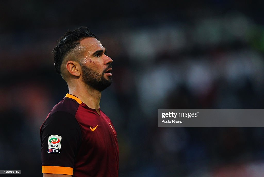 <a gi-track='captionPersonalityLinkClicked' href=/galleries/search?phrase=Leandro+Castan&family=editorial&specificpeople=5891971 ng-click='$event.stopPropagation()'>Leandro Castan</a> of AS Roma looks on during the Serie A match between AS Roma and Atalanta BC at Stadio Olimpico on November 29, 2015 in Rome, Italy.