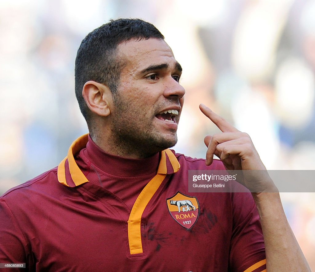 <a gi-track='captionPersonalityLinkClicked' href=/galleries/search?phrase=Leandro+Castan&family=editorial&specificpeople=5891971 ng-click='$event.stopPropagation()'>Leandro Castan</a> of Roma gestures during the Serie A match between SS Lazio and AS Roma at Stadio Olimpico on February 9, 2014 in Rome, Italy.