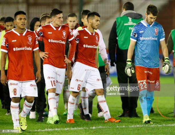 Leandro Cuomo Diego Mendoza Juan Pablo Vivas and Manuel García goalkeeper of Huracan leave the field after loosing a first leg match between Huracan...