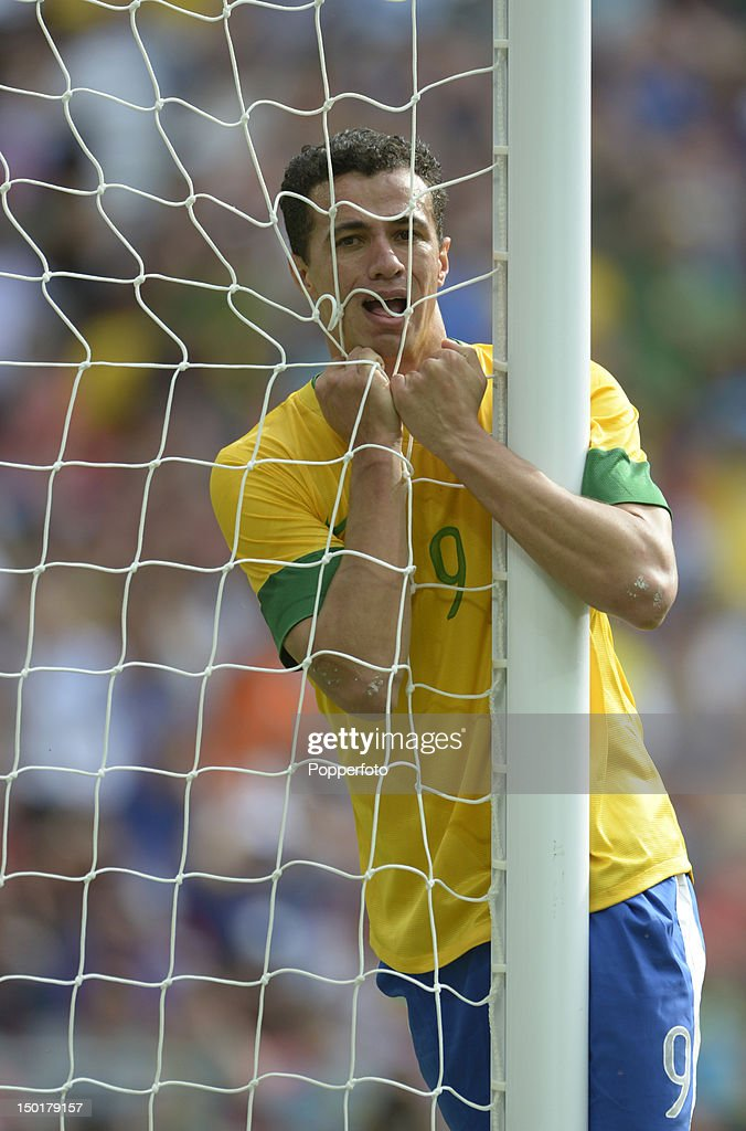 Leandro Damiao of Brazil reacts during the Men's Football Final between Brazil and Mexico on Day 15 of the London 2012 Olympic Games at Wembley Stadium on August 11, 2012 in London, England.