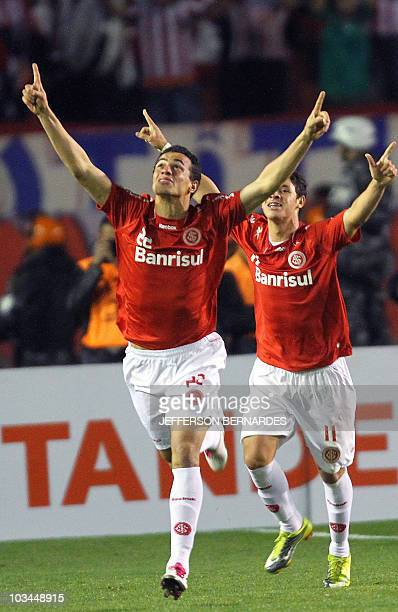 Leandro Damiao of Brazilian Internacional celebrates after scoring against Mexico's Chivas during their Libertadores Cup final match at Beira Rio...
