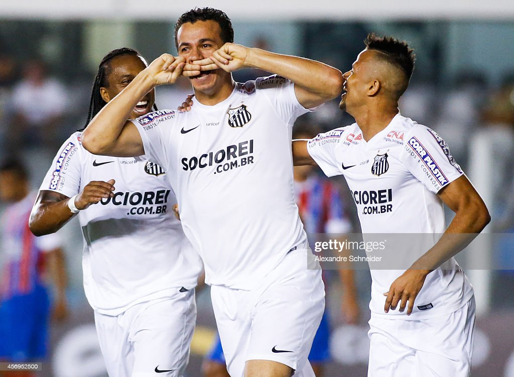 Leandro Damiao of Santos celebrates their first goal during the match between Santos and Bahia for the Brazilian Series A 2014 at Vila Belmiro...
