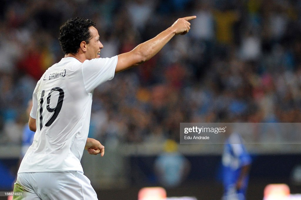 Leandro Damião of Friends of Ronaldo celebrates a goal during the 10th edition of Match Against Poverty between friends of Zidane and friends of Ronaldo at Arena Gremio Stadium on December 19, 2012 in Porto Alegre, Brazil.