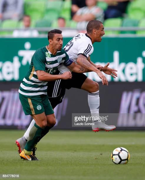 Leandro De Almeida 'Leo' of Ferencvarosi TC fouls Myke Bouard Ramos of Swietelsky Haladas during the Hungarian OTP Bank Liga match between...