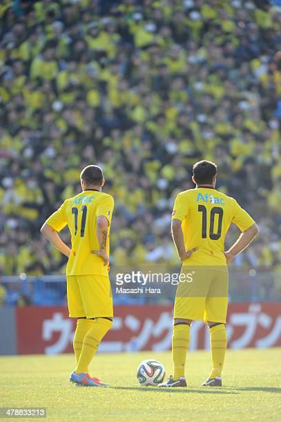 Leandro Domingues and Leandro of Kashiwa Reysol before the kick off during the JLeague match between Kashiwa Reysol and Nagoya Grampus at Hitachi...