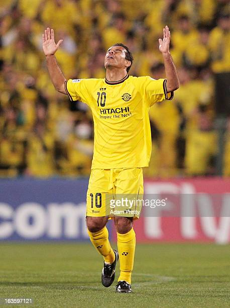 Leandro Domingues of Kashiwa Reysol celebrates scoring a goal during the AFC Champions League Group H match between Kashiwa Reysol and Central Coast...