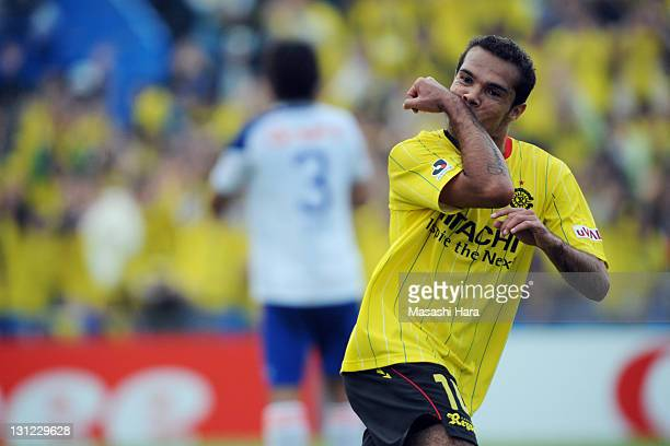 Leandro Domingues of Kashiwa Reysol celebrates second goal during JLeague match between Kashiwa Reysol and Albirex Niigata at Hitachi Kashiwa Soccer...
