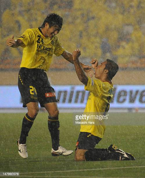Leandro Domingues of Kashiwa Reysol celebrates the first goal with Koki Mizuno during the JLeague match between Kashiwa Reysol and Nagoya Grampus at...