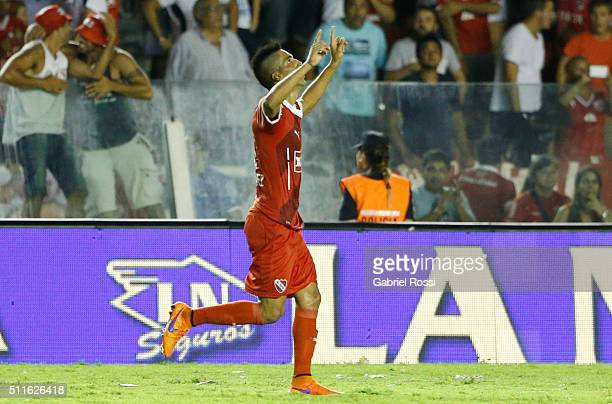 Leandro Fernandez of Independiente celebrates after scoring the first goal of his team during the 4th round match between Independiente and Racing...