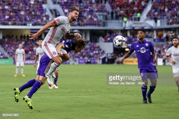 Leandro Gonzalez of Atlanta United and Jonathan Spector of Orlando City during the MLS match between Atlanta United and Orlando City at Orlando City...