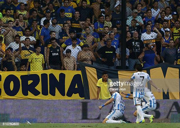 Leandro Gonzalez of Atletico Tucuman celebrates after scoring during a match between Boca Juniors and Atletico Tucuman as part of second round of...