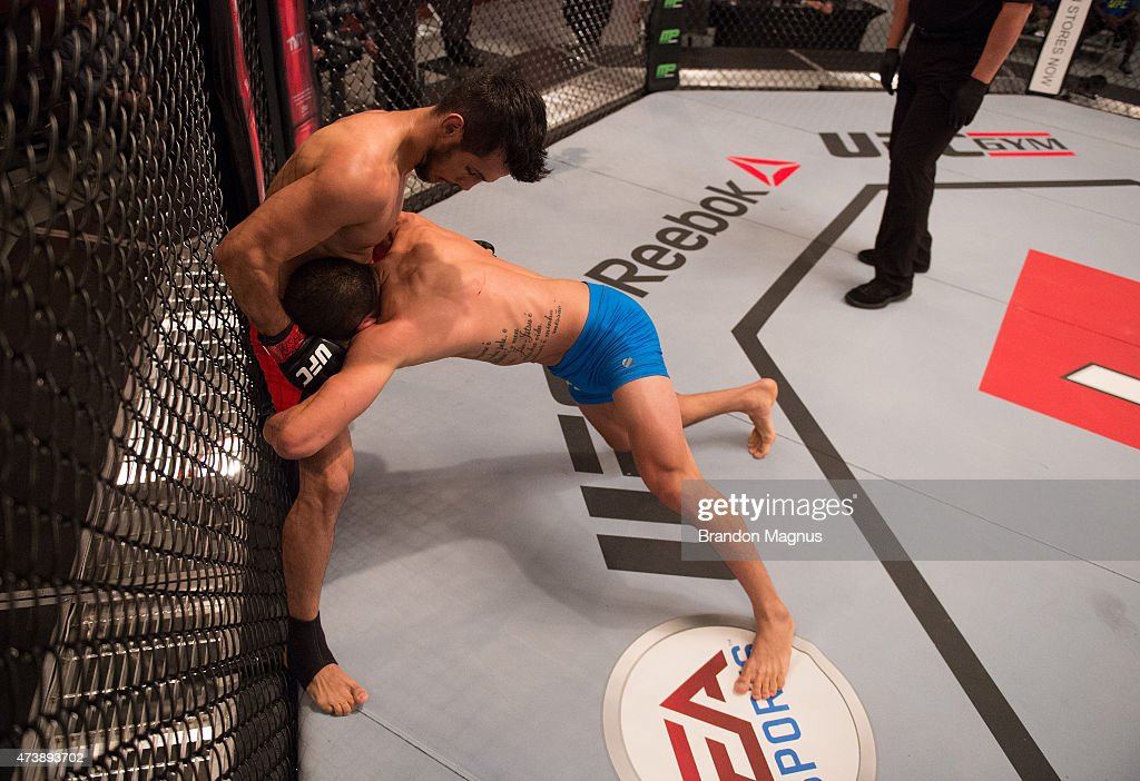 Leandro Higo pushes Bruno Korea up against the cage during the filming of The Ultimate Fighter Brazil Team Nogueira vs Team Rua on February 20 2015...