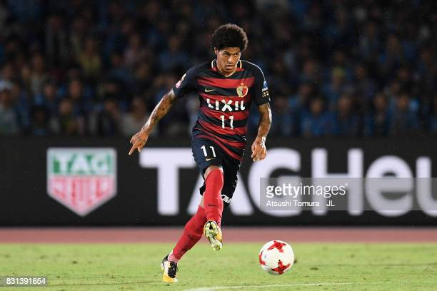 Leandro of Kashima Antlers in action during the JLeague J1 match between Kawasaki Frontale and Kashima Antlers at Todoroki Stadium on August 13 2017...