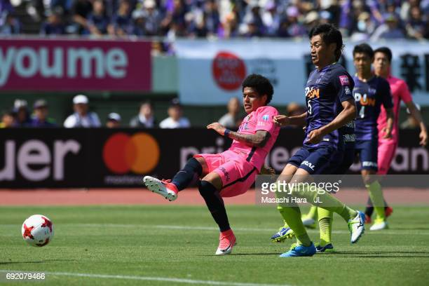 Leandro of Kashima Antlers scores his side's third goal during the JLeague J1 match between Sanfrecce Hiroshima and Kashima Antlers at Edion Stadium...