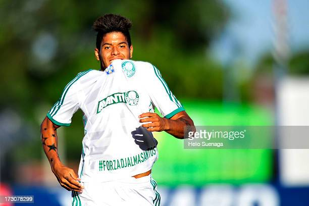 Leandro of Palmeiras celebrates a goal during a match between Palmeiras and Oeste for the Brazilian Championship Serie B 2013 at Paulo Constantino...