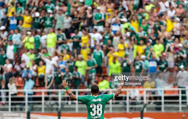 Leandro of Palmeiras celebrates a goal during the match between Palmeiras and Boa Esporte for the Brazilian Championship Series B 2013 at Pacaembu...