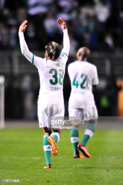 Leandro of Palmeiras celebrates a scored goal during a match between Palmeiras and Paysandu as part of the Brazilian Championship Serie B 2013 at...