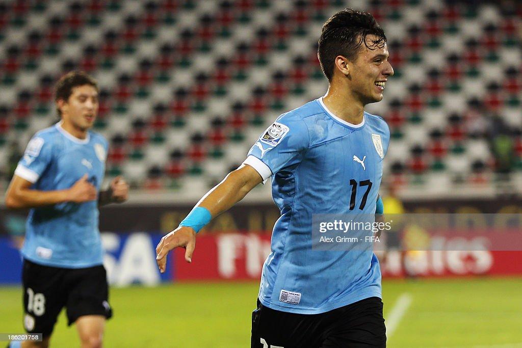 Leandro Otormin of Uruguay celebrates his team's fourth goal during the FIFA U-17 World Cup UAE 2013 Round of 16 match between Uruguay and Slovakia at Ras Al Khaimah Stadium on October 29, 2013 in Ras al Khaimah, United Arab Emirates.