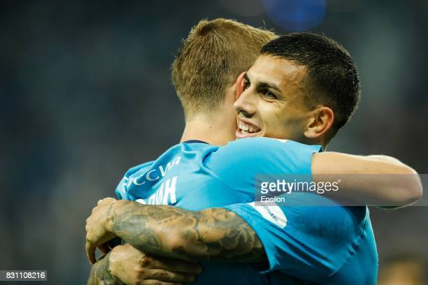 Leandro Paredes and Aleksandr Kokorin of FC Zenit Saint Petersburg celebrates a goal during the Russian Football League match between FC Zenit St...