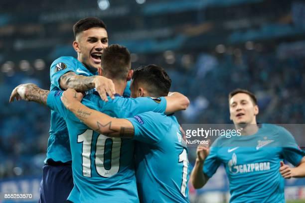 Leandro Paredes Emiliano Rigoni Sebastian Driussi and Daler Kuzyaev of FC Zenit Saint Petersburg celebrates after scoring a goal during the UEFA...