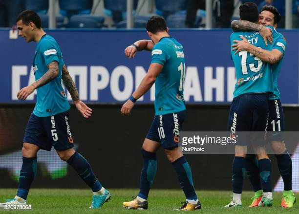 Leandro Paredes Giuliano Luís Neto Sebastian Driussi of FC Zenit Saint Petersburg celebrates after scoring a goal during the Russian Football League...