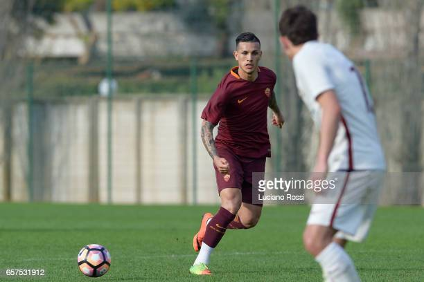Leandro Paredes is seen during an AS Roma training session at Centro Sportivo Fulvio Bernardini on March 24 2017 in Rome Italy
