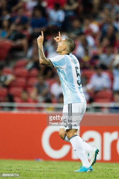 Leandro Paredes of Argentina celebrates his score during the International Test match between Argentina and Singapore at National Stadium on June 13...