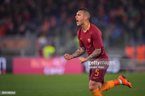Leandro Paredes of AS Roma celebrates after scoring a goal during the Serie A match between AS Roma and US Sassuolo at Stadio Olimpico on March 19...