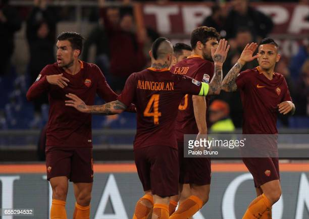 Leandro Paredes of AS Roma celebrates after scoring the team's first goal during the Serie A match between AS Roma and US Sassuolo at Stadio Olimpico...