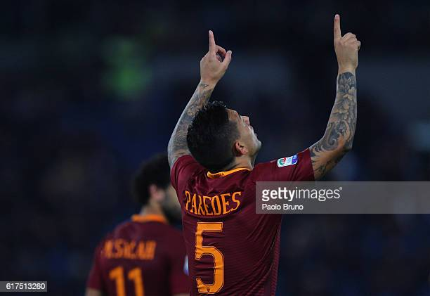 Leandro Paredes of AS Roma celebrates after scoring the team's second goal during the Serie A match between AS Roma and US Citta di Palermo at Stadio...