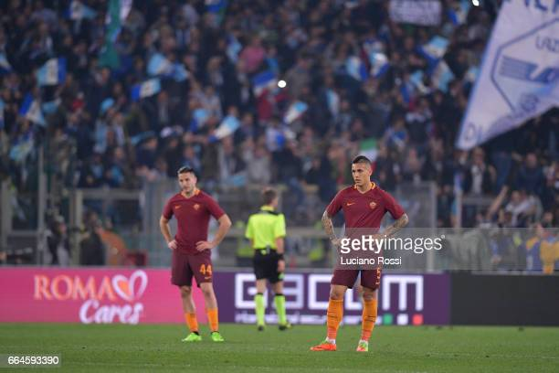 Leandro Paredes of AS Roma disappointed during the TIM Cup match between AS Roma and SS Lazio at Stadio Olimpico on April 4 2017 in Rome Italy