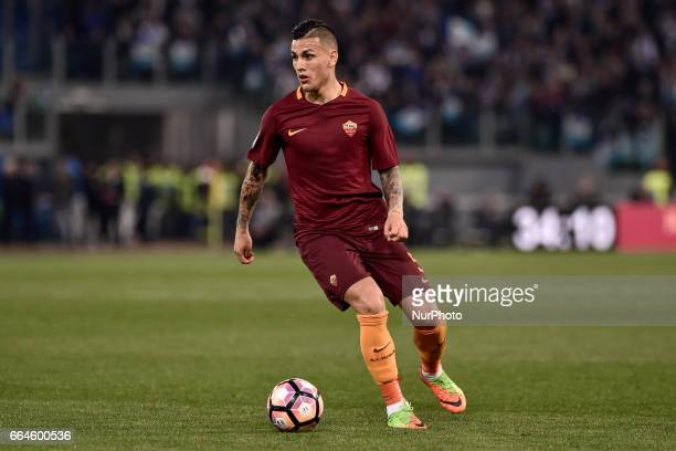 Leandro Paredes of AS Roma during the Italian Cup semifinal match between Roma and Lazio at Stadio Olimpico Rome Italy on 4 April 2017