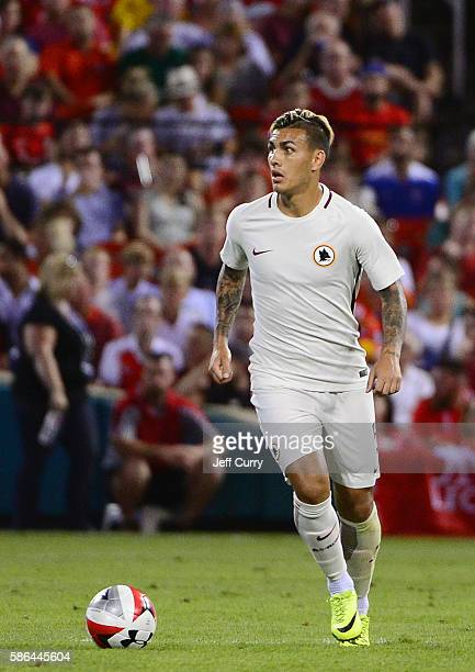 Leandro Paredes of AS Roma handles the ball against Liverpool FC during a friendly match at Busch Stadium on August 1 2016 in St Louis Missouri AC...