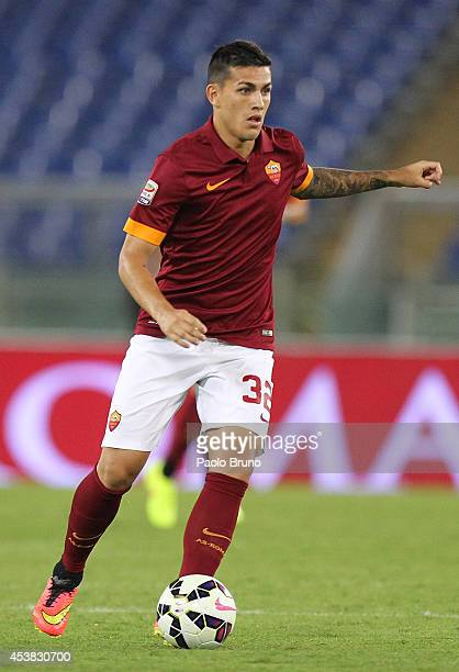 Leandro Paredes of AS Roma in action during the preseason friendly match between AS Roma and Fenerbahce SK at Stadio Olimpico on August 19 2014 in...