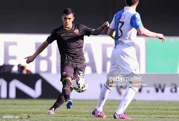 Leandro Paredes of AS Roma in action during the Serie A match between AC Chievo Verona and AS Roma at Stadio Marc'Antonio Bentegodi on March 8 2015...